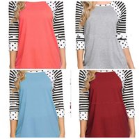 Wholesale seven t shirt for sale – custom Female Dot T Shirt Stripe Blouse Low Round Neck Undies Seven Quarter Sleeve Leisure Loose Breathable Soft Yellow Black hh C1