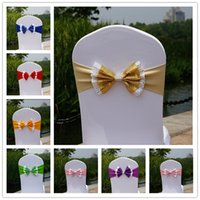 Wholesale elastic buckles resale online - Paillette Wedding Chair Cover Sashes Elastic Spandex Chair Band Bow With Buckle for Weddings Event Party Accessories