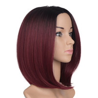 Wholesale bob red ombre wigs for sale - Ombre Short Bob Synthetic Hair B Burgundy Red Synthetic Wig Heat Resistance Japan Fiber High Quality Cheap Wig Simulated Human Hair Wig