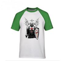 hombres varoniles al por mayor-Verano casual fitness Hombres camiseta Camisetas Caballeros Templarios Guerreros Estampados Manly Camisetas superiores para hombre No Fade Diseño vintage Camiseta Polos
