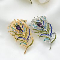 tavuskuşu şapkaları toptan satış-Retro Peacock Feather Gem Kristal Pin Çevre Koruma Rhinestone Broş Bez Çanta Şapka Aksesuar Hediye Kadın Erkek için