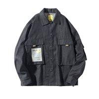 цвет куртки оптовых-2019 New Spring And Autumn Men's Tide  Drop Shoulder Sleeve Men's Shirt Solid Color Casual Jacket Black M-2XL