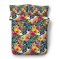 cama de leopardo rei venda por atacado-Conjuntos de Cama king size Comforter Floral conjunto de Cama de Luxo queen size Leopard impressão quilt capa de edredão cama em um saco folha cheia gêmeo 5 PCS