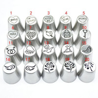 Wholesale icing nozzles sizes resale online - 21pcs Set Russian Piping Tips For Valentine s Day Design Love Pastry Nozzles And Coupler Large Size Icing Piping Nozzle Tips Cake Decoration