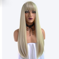 ingrosso flaxen per parrucca-Vendita calda parrucca Flaxen dritto Bang femminile capelli lisci ad alta temperatura in fibra di seta chimica Hood
