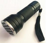 led-taschenlampen großhandel-21LED UV-Licht 395-400nm LED UV-Taschenlampe Aluminium Blacklight Detection Ink Marker 21LED UV-Ultraviolett Mini-Taschenlampe