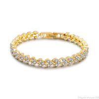 Wholesale crystal roman bracelets resale online - Cubic Zirconia Heart Roman Bracelet cm cm Hip Hop Iced Out Chain Crystal Wedding Bracelets Bangles for Women Men Jewelry Accessories
