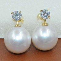 ingrosso enormi borchie-Orecchino tondo 13,4-13,5 mm bianco vero perla orecchini s925 argento A170