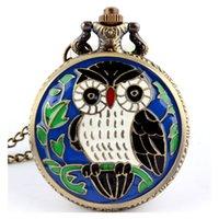 vintage rosa golduhr groihandel-Gorben Weiß / Blau / Rosa-Weinlese-Bronze Steampunk Taschen-Uhr-Quarz-Halsketten-Taschen Uhr Fob Uhren Kette Männer Frauen Clock