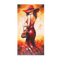ingrosso signore di pittura a olio astratta-24 * 47 pollici pittura a olio impermeabile dipinta a mano senza cornice astratta signora in vestito rosso immagine della parete della tela di arte della decorazione per l'ufficio del salone