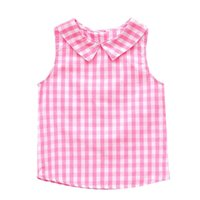 мальчики летние жилеты топы оптовых-Children Girls T-Shirt Baby Kids O-neck Sleeveless Plaid Print Vest Tops Girls Clothes Boys T Shirt Summer cotton Newborn
