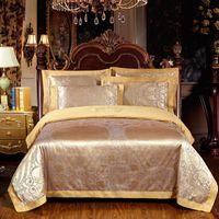 Wholesale red satin bedding set comforter resale online - FUNBAKY Set Satin Jacquard Silk Comforter Luxury Bedding Sets Duvet Cover Set Bed Linen Linings Wedding Home Textile