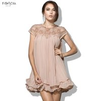 Wholesale printed long dresses for summer resale online - Lace Brand Design Vestidos Elegant Party Casual Vintage Apricot Short Sleeve Women Ruffled Chiffon Dress For Wedding
