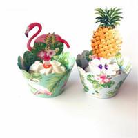 ingrosso compleanno cupcake wrapper-Foresta pluviale tropicale Flamingo Ananas Cupcake Compleanno Decorazioni per bambini Centrotavola per bambini Decorazioni per la torta Topper Cake Wrapper