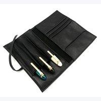 ingrosso matite a forma di penna fatta a mano-Custodia stilografica per penna stilografica in vera pelle nera di agnello
