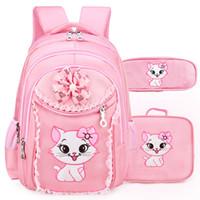 ingrosso borse da scuola elementare per ragazze-Portfolio School Bags For Girls 2018 Cute Cute Cartoon Princess Cat Zaino per bambini Bambini Lace Bookbag Zaino della scuola primaria