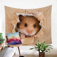casa do mouse 3d venda por atacado-Muro Hamster de suspensão Papery Impressão Tapeçaria 3D Vivid Brown Mouse Recados Tapete Adorável animal for Kids Home Decor
