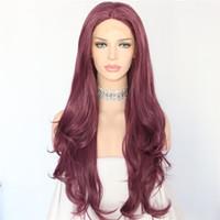 mano ondulada atada pelucas al por mayor-Envío libre 180% densidad mano atada suave suizo mezcla de encaje púrpura largo ondulado pelucas resistente al calor sin cola de encaje sintético frente peluca para las mujeres