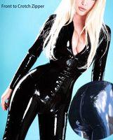 stripper de lenceria negra al por mayor-GLAMÁTICO Disfraces Cosplay Lencería Erótico Catsuit Sexy Stripper Body Club Nocturno Fetish Wear Frente a Crotch Zipper Black