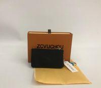klasik deri bayanlar sikke çantası toptan satış-Fransa tarzı Tasarımcı sikke çantası erkek kadın bayan deri çanta sikke anahtar cüzdan mini cüzdan seri numarası kutusu toz torbası