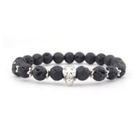 schwarzes perlen armband für frauen groihandel-Naturstein Armband 8 MM Schwarz Perlen Schädel Elastische Armbänder für Männer und Frauen Perlen Armbänder