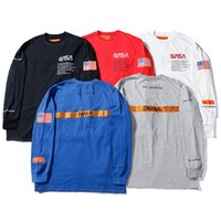 moda cadde hiphop toptan satış-Heron Preston x NASA Erkek Bahar T Shirt Sonbahar Güz Rahat Hiphop Sokak Moda Uzun Kollu Tops