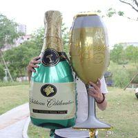 anniversaire de fête de naissance achat en gros de-Champagne Coupe Bière Bouteille Ballons Feuille D'aluminium Ballon Ballons D'hélium Anniversaire De Mariage Baby Shower Party Decor Fournitures