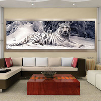 Wholesale paintings white tigers for sale - Group buy Diamond Embroidery D Diy Diamond Painting Cross Stitch White Tiger Round Diamond Mosaic Animals Home Paintings hobbies crafts T200111