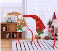 accessoires de cheveux de paillette rouge achat en gros de-Bandeau de Noël avec Santa Hat Glitter Sequin Hat Hair Band Costume de Noël Accessoire pour les filles Golden Hairband rouge