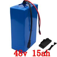 lithium-batterie elektroroller großhandel-48V 1000W Batterie 48V 15AH Elektrorad Batterie 48V 15AH Roller Lithium Batterie Pack für 500W 750W 1000W Motor Zollfrei