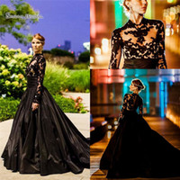 Wholesale purple evening dresses yellow bow online - 2019 Black A line Evening Dresses Lace Long Sleeve With High Neck Taffeta Sweep Train Bridal Party Prom Gowns Custom Made