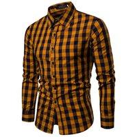 camisas comerciais amarelas venda por atacado-Luxo Mens Casual Camisa Formal de Manga Longa Slim Fit Vermelho Amarelo Azul Royal Verde Escuro Xadrez Camisa de Vestido de Negócios