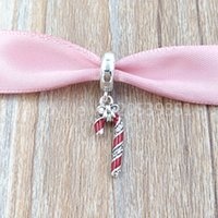 Wholesale candy bead necklace for sale - Group buy Authentic Sterling Silver Beads Sparkling Candy Cane Pendant Charm Charms Fits European Pandora Style Jewelry Bracelets Necklace