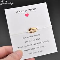 ingrosso braccialetti di modo migliori-Jisensp Lucky Wishing Seashell Bracciali per le donne Bambini Simple Fashion Beach Shell Braccialetto regolabile Miglior regalo di gioielli