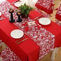 ingrosso corridori floreali da tavolo da cerimonia nuziale-Tabella di natale Runner Mat Tovaglia bandiera di Natale Home Decor Party Rosso floreale stampato Runners decorazione della casa wed party