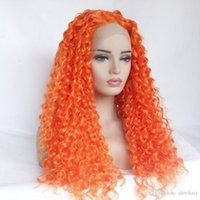 pelucas rizadas apretadas al por mayor-Pelucas delanteras del cordón sintético con el pelo del bebé Naranja Tight Curly Resistente al calor Cordón anaranjado del frente del cordón sintético Kinky Curly Para Mujeres