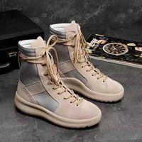 mejores hombres zapatillas altas al por mayor-Las botas altas de la marca KANYE caliente La mejor calidad Miedo de Dios Zapatillas de deporte militares Hight Army Boots Hombres y mujeres Zapatos de moda Martin Boots 38-45