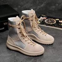 mulheres da moda do exército venda por atacado-quente Marca KANYE botas altas Melhor Medo qualidade de Deus-top Militar Hight Exército Botas Homens e Mulheres Sapatos Moda Martin Botas 38-45