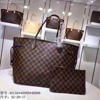 siyah çanta çantası toptan satış-Gelgit L Mektup NEVERFULL Deri Çanta Siyah Checker Çanta En Kaliteli Baskı Çanta Bayan Moda Çantaları Kız Alışveriş Çantası