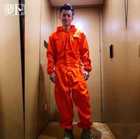 mono de moda naranja al por mayor-M-4XL Tallas grandes Ropa de Hombre Guapo Herramientas Hombre Mono Monos Moda Naranja Con Capucha Overol Pantalones