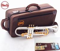 pirinç çanlar toptan satış-Kalite Bach Trompet Orijinal Gümüş kaplama ALTıN ANAHTAR LT180S-72 Düz Bb Profesyonel Trompet çan Üst müzik aletleri Pirinç