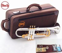 Wholesale gold instruments resale online - Quality Bach Trumpet Original Silver plated GOLD KEY LT180S Flat Bb Professional Trumpet bell Top musical instruments Brass
