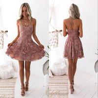 schicht sexy kleid großhandel-Vintage Blush Lace Floral kurze Cocktailkleider Schichten Röcke Moderne Ärmel Jewel Ausschnitt Mini-Abend-Partei