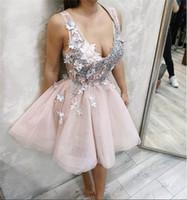 vestidos de fiesta floridos al por mayor-2019 nuevos apliques de flores Dulce 16 Vestidos de Fiesta Ver a través de Sheer Tul Vestidos de fiesta cortos Mini vestidos de cóctel Tallas grandes