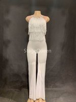 Wholesale dj ds women costume for sale - Fashion White Fringes Rompers Sexy Tassel Dance Costume Women stage Performance Bodysuit Sexy Nightclub Jumpsuit DS DJ Jumpsuit