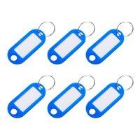ev anahtarlıkları toptan satış-12 adet Taşınabilir Hafif Etiket Etiketleri Organizatör Plastik Anahtar KIMLIĞI Ofis Ev için Anahtarlıklar Caps