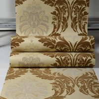 fondos de pantalla europeos al por mayor-New European lujo luz marrón 3D estereoscópica de terciopelo grueso Congregación del papel pintado del damasco acogedor dormitorio sala de estar