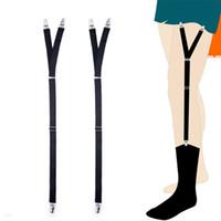 chaussettes antidérapantes hommes achat en gros de-Jarretelles réglables élastiques Y-Shape Shirt Séjours Jarretières Porte-Chemise Anti-Slip Sock Fastener Jarretières Pour Hommes Bretelles