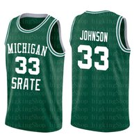 faldas de pájaro al por mayor-Faldas de tenis Michigan State Spartans 33 Earvin Johnson Magic LA Green White College 33 Larry Bird High School