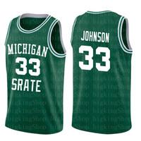 ingrosso gonne di uccelli-Gonne da tennis Michigan State Spartans 33 Earvin Johnson Magic LA Green White College 33 Larry Bird High School